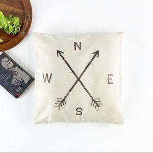 Other - 🔴 3/$25 Boho Compass Burlap Pillow Sham Cream